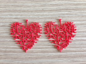 Heart Earrings in Red Processed Versatile Plastic