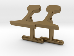 Rails Cufflinks in Polished Bronze