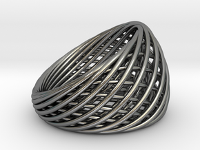 [Ring]Weave|Size11|20mm in Fine Detail Polished Silver