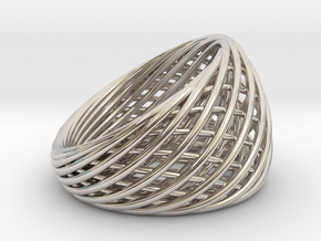 [Ring]Weave Size6 16.5mm in Rhodium Plated Brass