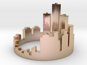 (Size 8) Detroit Skyline Ring in 14k Rose Gold Plated Brass