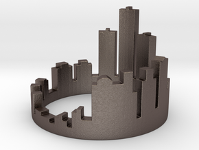 (Size 8) Detroit Skyline Ring in Polished Bronzed Silver Steel