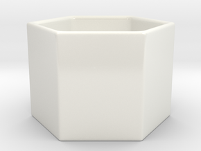Hexagon Tea Cup in Gloss White Porcelain