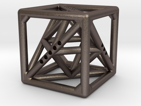 Cube with Tetrahedron and Octahedron inside in Polished Bronzed Silver Steel