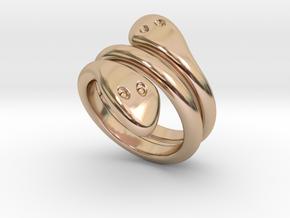 Ring Cobra 17 - Italian Size 17 in 14k Rose Gold Plated Brass
