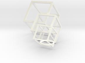 Cube-n-Cube Earrings in White Processed Versatile Plastic