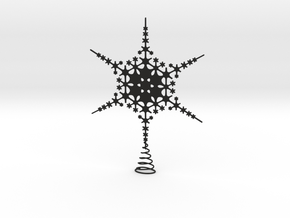 Sparkle Snow Star - Fractal Tree Top - MP2 - M in Black Natural Versatile Plastic