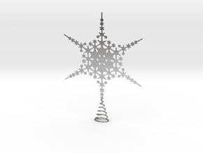 Sparkle Snow Star - Fractal Tree Top - LP1 - S in Natural Silver