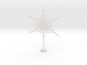 Sparkle Snow Star - Fractal Tree Top - LP1 - S in White Natural Versatile Plastic