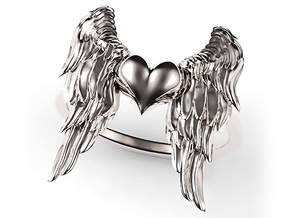 Ring Of The Angelic Heart in Polished Silver