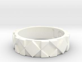 Futuristic Rhombus Ring Size 5 in White Processed Versatile Plastic