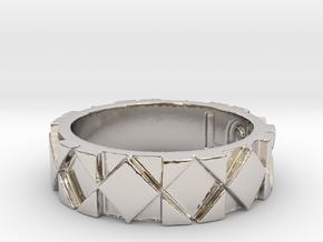 Futuristic Rhombus Ring Size 4 in Platinum