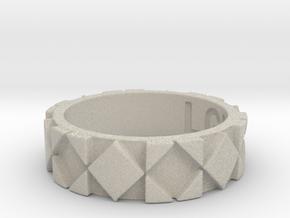 Futuristic Rhombus Ring Size 4 in Natural Sandstone