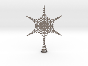 Sparkle Snow Star - Fractal Tree Top - MP4 - M in Polished Bronzed Silver Steel