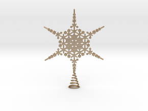 Sparkle Snow Star - Fractal Tree Top - MP4 - M in Matte Gold Steel