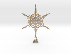 Sparkle Snow Star - Fractal Tree Top - MP3 - M in Polished Gold Steel