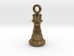 Chess Rook Pendant in Natural Bronze