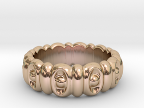 Eyes Ring 21 - Italian Size 21 in 14k Rose Gold Plated Brass