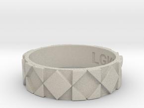 Futuristic Rhombus Ring Size 13 in Natural Sandstone