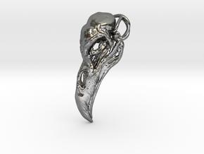 Raven skull Pendant in Fine Detail Polished Silver