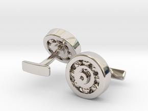 Bearing Cufflink in Rhodium Plated Brass