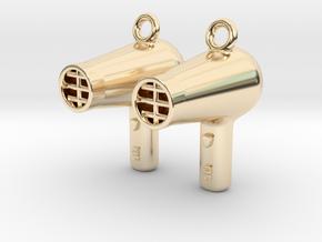 Hair Dryer Earrings in 14k Gold Plated Brass