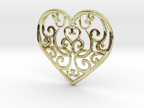 Christmas Heart Ornament in 18k Gold Plated Brass