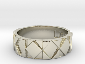 Futuristic Rhombus Ring Size 11 in 14k White Gold