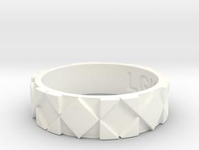 Futuristic Rhombus Ring Size 9 in White Processed Versatile Plastic