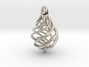 DNA Teardrop Pendant in Rhodium Plated Brass