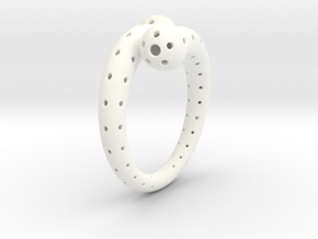 Twisted Sphere Ring in White Processed Versatile Plastic