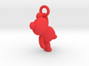 Teddy Bear Pendant - 3cm in Red Processed Versatile Plastic
