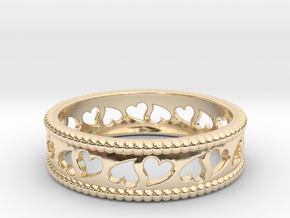 Size 7 Hearts Ring A in 14K Yellow Gold