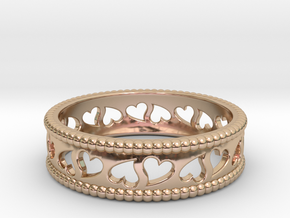 Size 8 Hearts Ring A in 14k Rose Gold Plated Brass