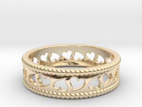 Size 9 Hearts Ring A in 14k Gold Plated Brass