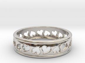 Size 6 Hearts Ring B in Rhodium Plated Brass