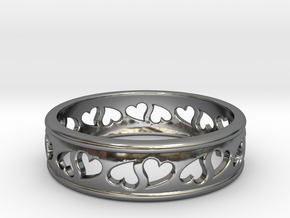 Size 6 Hearts Ring B in Fine Detail Polished Silver
