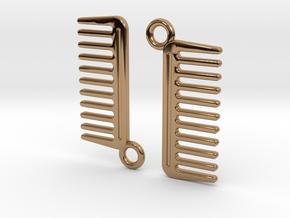 Comb Earrings in Polished Brass
