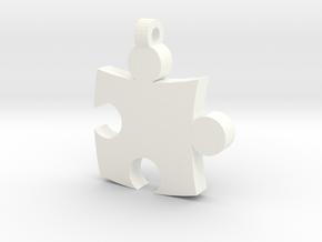 Puzzle Pendant in White Processed Versatile Plastic