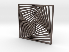 Twist Illusion Pendant in Polished Bronzed Silver Steel