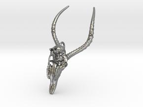 Impala Skull Pendant in Raw Silver