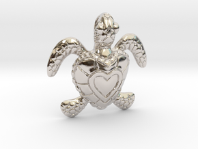 Baby Turtle Heart Pendant in Rhodium Plated Brass