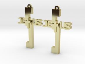 Jesus Earrings in 18k Gold Plated Brass