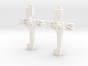 Jesus Earrings in White Processed Versatile Plastic