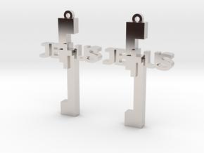 Jesus Earrings in Rhodium Plated Brass