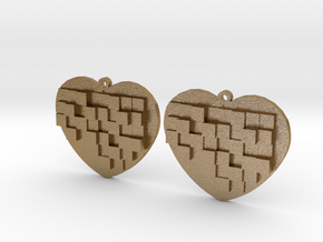 Mosaic Heart Earrings Large in Polished Gold Steel