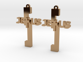 Jesus Earrings in Polished Brass