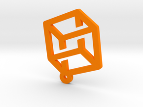Cube thing earring in Orange Processed Versatile Plastic