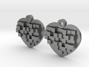 Mosaic Heart Earrings Small in Natural Silver