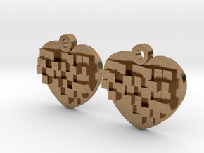 Mosaic Heart Earrings Small in Natural Brass